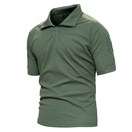 TACVASEN Mens Polyester Soft Comfort Paintball Airsoft Short Sleeve T Shirt Top Army Green US M(fit Chest:39')