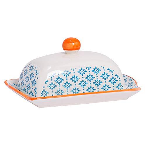 Nicola Spring Gemusterte Butter/Margarine Schale mit Deckel - 185 mm - Blauer/Oranger Aufdruck