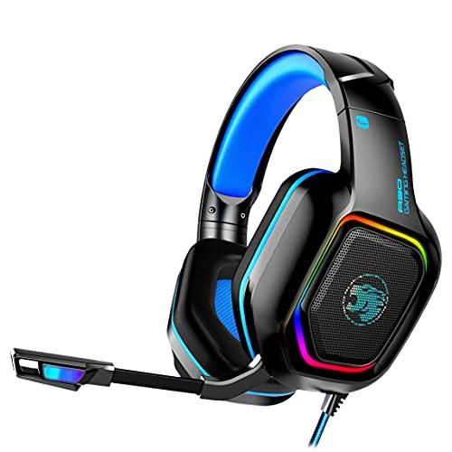 A30 Gaming Headset Casque RGB LED Lumière Jeu Casque avec Microphone Basse Stéréo Haedphone pour PC Ordinateur Téléphone Gamer - Noir Bleu