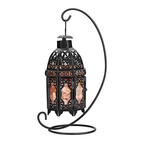 Cocoarm Salz Lampe Natürliche Kristallsalz Lampe Salzkristalllampe mit Schwarz Weinlese Eisenrahmen Nachtlicht für Luftreiniger Beleuchtung Dekoration Geschenke