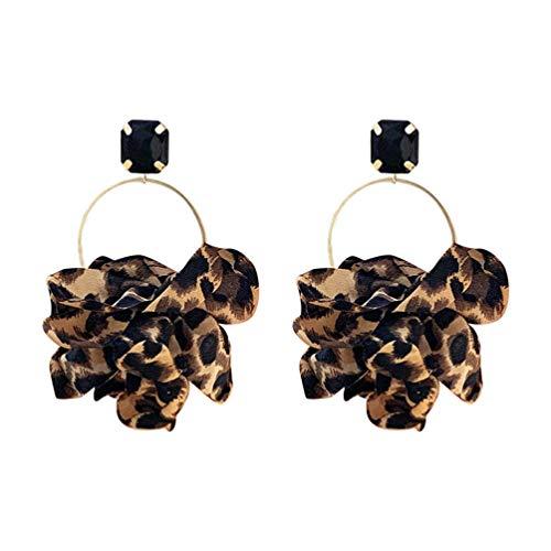 ABOOFAN Leopard Creolen Vintage baumeln Ohrringe Handmade Ohrringe Creolen Drop Anhänger Ohrringe Leoparden Baumel Haken Ohrringe Boho Leopard Ohrringe für Frauen Mädchen