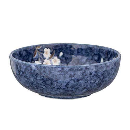 FEE-ZC Home Snack Dip Bowls Vaatwerk 10 Inch Keramische Bowl Dikke Soepkom Blauw Kersbloesem Ontbijtbord Rond Sushi Schotel Keuken Restaurant Geschenken (Maat: 19,6 cm/8 inch)