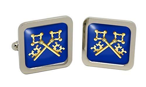 Trésorier d'un symbole maçonnique pour homme Chrome Boutons de manchette avec coffret cadeau