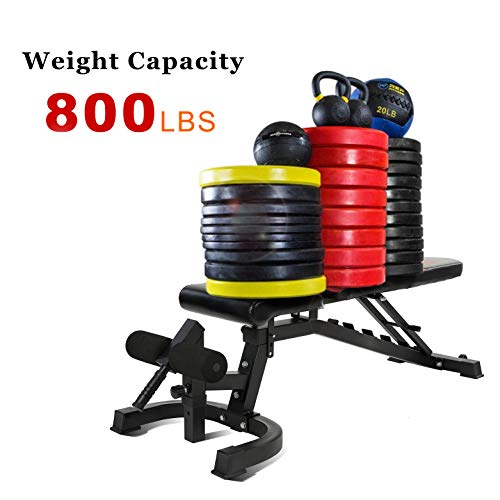 Adjustable Weight Bench 800 lbs Flat/Incline/Decline Utility Workout Bench Sit Up for Full Body Workout