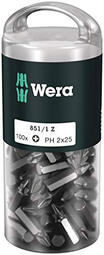 Wera 05072441001 851/1 Z DIY, Phillips Bits, PH 2 x 25 mm, 100-teilig, 100 Stück
