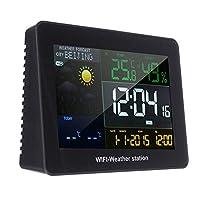 天気駅、屋外リモートセンサースヌーズ目覚まし時計温度とWIFIワイヤレスウェザーステーション、湿度
