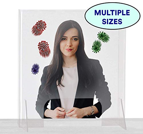 Total Coverage Sneeze Guard (Side Wall Protection Included) | Perfect for Office, Store, School, Front Desk | Clear Desk Panel Barrier, Acrylic Plexiglass Countertop Display Portable Counter Shield