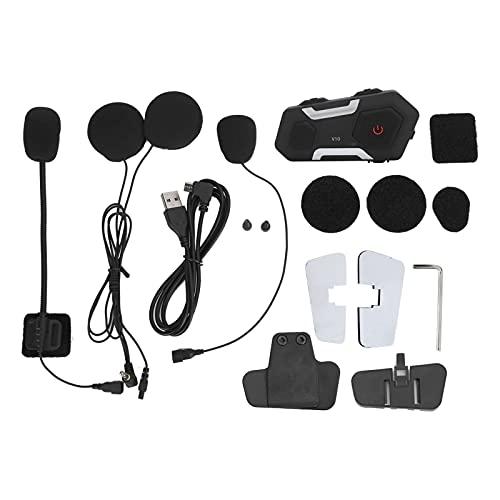 Mxzzand Soporte 10 Emparejamiento Supresión de Ruido Auriculares de Motocicleta Auriculares Inteligentes Operaciones de teléfono móvil Comunicación Directa, para Casco Conveniente para Conducir