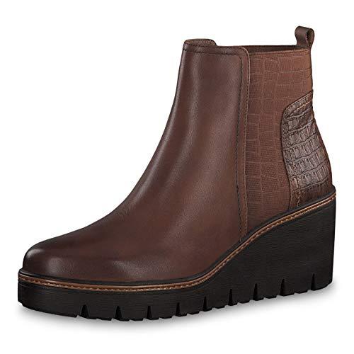 Tamaris Damen Stiefeletten 25430-23, Frauen Keilstiefeletten, Stiefel Boots halbstiefel Wedge-Bootie hoch weibliche,Cognac,39 EU / 5.5 UK