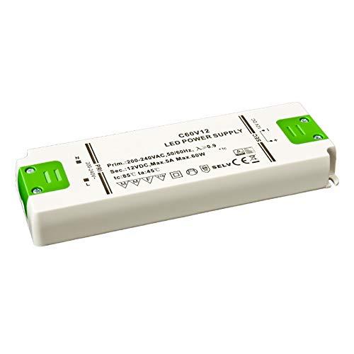 Slim Line Trafo extra flach LED Netzteil/SMD Trafo 12V/DC 60W 5A MM TÜV möbeleinbau perfekte Wärmeableitung