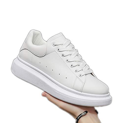 Zapatos blancos para hombre y mujer, primavera, otoño, cómodos, transpirables, suela gruesa, con cordones, punta redonda, zapatos planos, informales, color blanco, 44