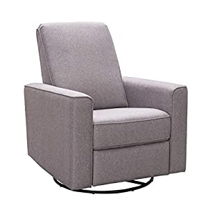 Abbyson Living Fabric Upholstered Nursery Swivel Glider Reclining Armchair, Taupe