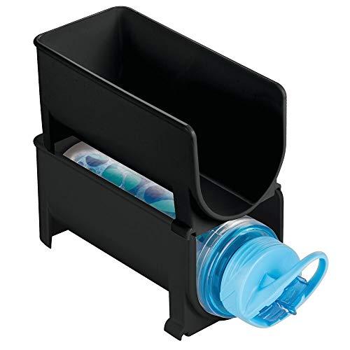 mDesign 2er-Set modernes Weinflaschenregal – stapelbares Flaschenregal für Wasserflaschen und Trinkflaschen – stilvolles Weinflaschenhalter für die Küche und Vorratskammer – schwarz