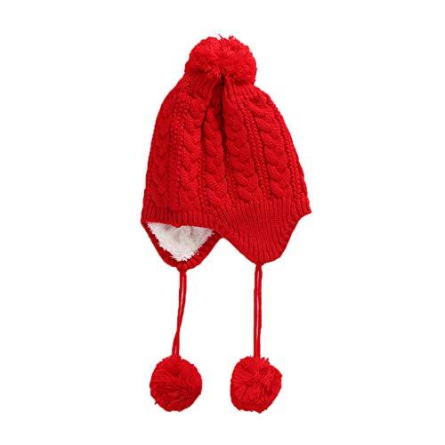 A0127 Baby M?dchen Kinder Winter Kreuz Kabel Strickm¨¹TZE Flauschigen Doppel Pompon Ball Anh?nger Beanie Cap Einfarbig Verdicken Futter Earflap Crochet Ear Warmer