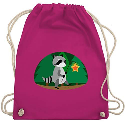 Shirtracer Kindergarten - Waschbär Laterne - Unisize - Fuchsia - turnbeutel kindergarten - WM110 - Turnbeutel und Stoffbeutel aus Baumwolle