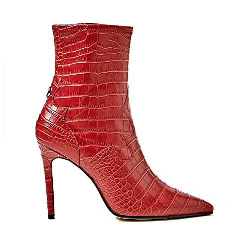 Guess Scarpe Donna Ankle Boot Tronchetto Bayley TC 90 Ecopelle Stampa Cocco Rosso D20GU68