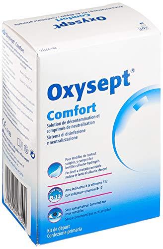 AMO Oxysept Comfort Pack – Peroxid-System zur besonders schonenden Reinigung weicher Kontaktlinsen – 1 x Kontaktlinsenflüssigkeit + 6 x Neutralisationstabletten