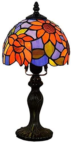 MISLD Tiffany 8 Pulgadas Lámparas De Mesa Patrón Sol Flores Colorido Aleación De Aluminio Lámpara