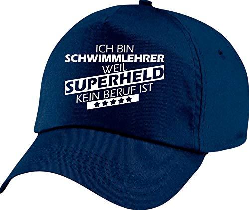 Shirtstown Basecap, Ich Bin Schwimmlehrer, Weil Superheld kein Beruf ist, Farbe, Cap, Mütze, Hut, Ausbildung, Beruf, Abschluss, Kollege, Kollegin, Chef, Chefin, Farbe Blau