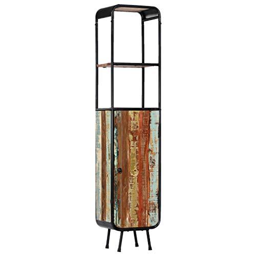 Tidyard Handgefertigt Highboard Bücherschrank Massivholz-Schrank Mit 1 Tür und 2 Regalfächern,Bücherregal Schrank Wohnzimmer Hochschränke Kommode Anrichte 40 x 30 x 180 cm,Recyceltes Massivholz