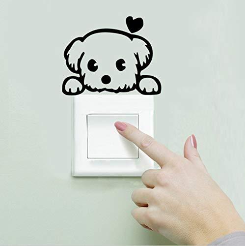 Dibujos animados extraíble lindo encantador perro negro cachorro interruptor de enchufe pegatina de pared vinilo calcomanía decoración del hogar pegatinas de animales en la pared