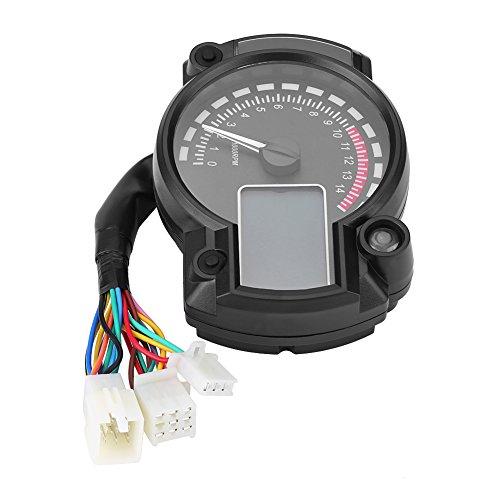 Qiilu Universal Motorrad Digital Bunte LCD Tacho Kilometerzähler Tachometer W / Geschwindigkeitssensor