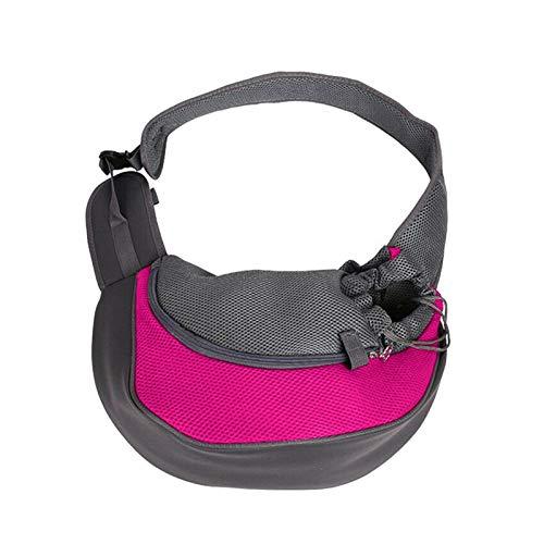JSJJAQA Mochila para Mascotas Bolsa de Mascotas Gato y Perro Viajes portátiles Messenger Bolsos de Hombro de Malla Transpirable Mascotas Mochila Accesorios (Color : Hot Pink, Size : 40x13x26cm)