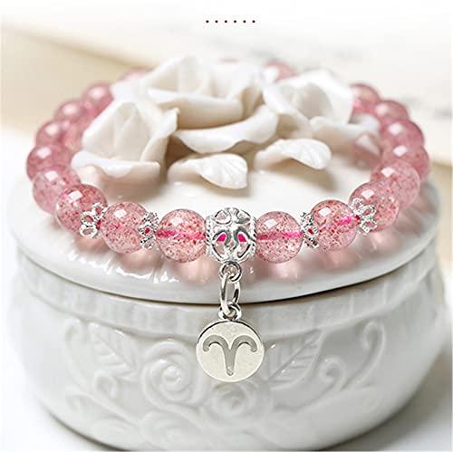 WCOCOW Feng Shui Crystal Bracelet 925 Plata Natural Cuarzo Doce Constelación Colgante Pulsera Joyería Joyería Amuleto Atrae Melocotón Blossom Luck,Aries