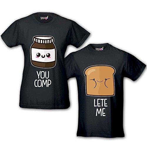 Coppia di T Shirt Magliette You Complete Me Pane e...