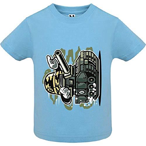 LookMyKase T-Shirt - War Tank - Bébé Garçon - Bleu - 12mois