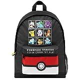 Pokemon Mochilas Escolares, Mochila Niño con Pikachu, Pokeball Y Pokémons, Mochila Infantil para Colegio Deporte Viajes, Regalos Para Niños y Adolescentes (Negro/Rojo)