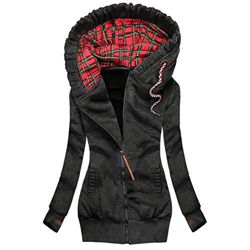 Masrin Frauen Mantel Mode Plaid Print Hoodie Jacke Reißverschluss Kordelzug Tasche Sweatshirt Langarm Plus Samt Gewand(M,Schwarz)