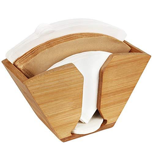 Unibene Bamboo Coffee Filter Holder, Coffee Paper Storage Container Dispenser Rack Shelf for Aeropress, Chemex, Hario V60 and Melitta Cone Filters