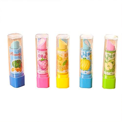 Hacoly 4 Stücke Lippenstift Radierer Farbradierer Eraser Niedlich Gummi Radier Premium-Qualität,geringe Krümelbildung,erstklassige Radierergebnisse, alterungswiderstandsfähig Radierstift
