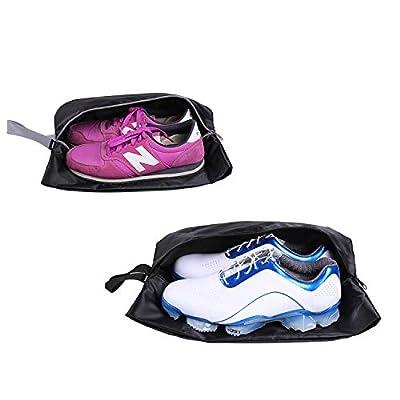 YAMIU Travel Shoe Bags Set of 2 Waterproof Nylon with Zipper for Men & Women (Black)