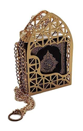 Islamic Car Rear Mirror Hanging Decorative Ornament Vehecle Necklace AMN142 Mini Al-Quran in Gold Color Cage Pendant Ramadan Eid Muslim Gift (Black)