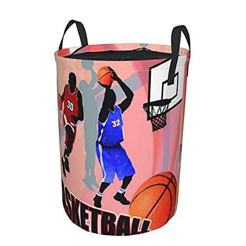 Cesto de lavandería redondo,Jugadores de acción de baloncesto sobre fondo abstracto Impresión de estilo de cartel clásico,cesto de lavandería plegable impermeable con cordón,21.6'x16.5'
