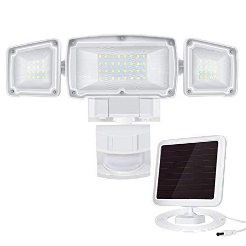 Derro Solar Lights Outdoor Super Bright 2200LM Led Flood Light with Motion Sensor and 3 Adjustable Head, 6500k, Ip65 Waterproof Security Light for Garden, Backyard, Pathway, Garage