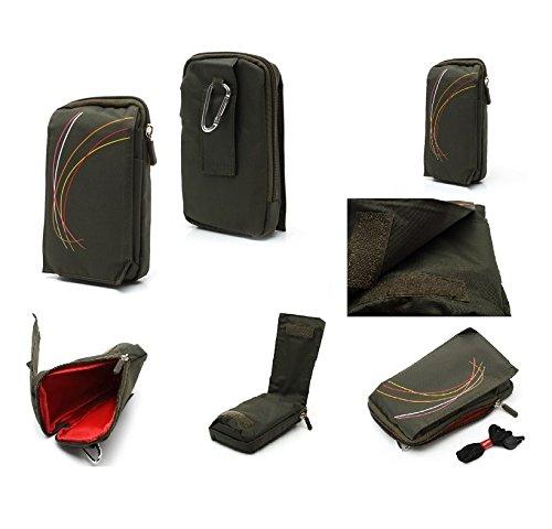 DFV mobile - Funda Multiusos con Varios Compartimentos para Cinturon y Mosqueton para Lenovo Vibe X2 - Verde (16 x 9.5 cm)