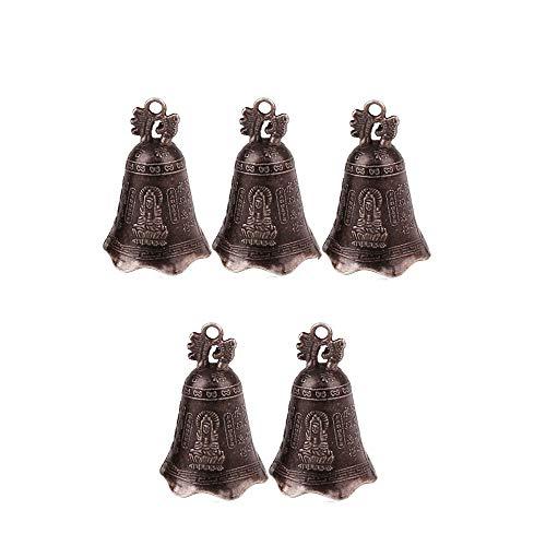 KOOBOOK 5Pcs Retro China's Mini Bronze Sculpture Pray Buddha Feng Shui Bell Home Garden Decorative Wind Bells Car Pendant Accessories 50x30mm