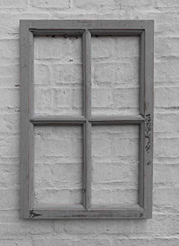 Deko-Impression Fenster Sprossenfenster Bilderrahmen Wanddekoration Holz grau 60 x 40