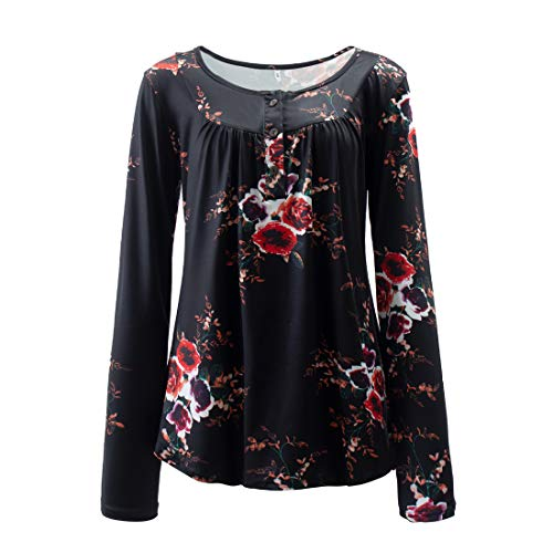 Shirt Damen Elegant Locker Stretch Knopf Rundhals Langarmshirt Retro Floral Drucken...