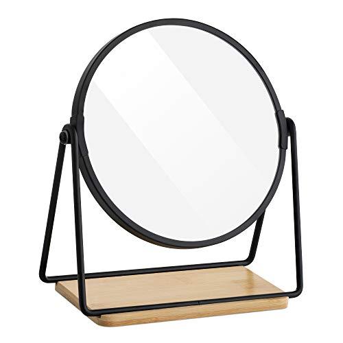 Navaris Espejo de Mesa Redondo - Espejo Doble Cara con Aumento 2X y 1x para tocador baño Mesa - con Base de Bandeja de bambú para Maquillaje Joyas