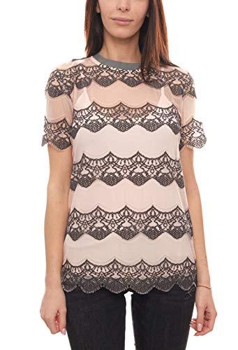 Heine Shirt Spitzen-Shirt leicht transparentes Damen Kurzarm-Shirt Freizeit-Shirt Mode-Shirt Rosa/Grau, Größe:40