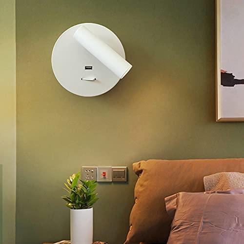 Sxxrdz Lámpara de pared con interruptor Aplique de pared Luz de cama Lámpara de pared ajustable, Lámpara de acento de pared de escalera Lámpara de lectura de hotel con USB, 3W Blanco cálido 3000K Cabe