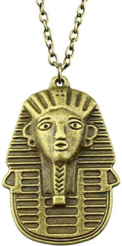 ZGYFJCH Co.,ltd Collar de Moda 50X35mm Color Bronce Antiguo Reina de Egipto Colgante Collar para Mujer Colgante Collar niñas niños Regalo