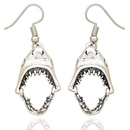 CHENLING Pendientes de moda gótica vintage para mujer, decoración de Halloween, diseño de calavera de tiburón