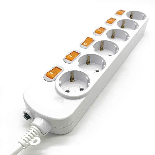 SXXYTCWL Protección contra sobretensiones de Tira de Potencia de Caja de Encaje 3/4/5/6 Outlets 16A Sockets de extensión eléctrica Swit de Control Independiente. jianyou