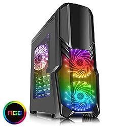 CiT G Force Gaming Gehäuse mit 15LED, Blau, Front-Ventilator weiß Wht/Blu