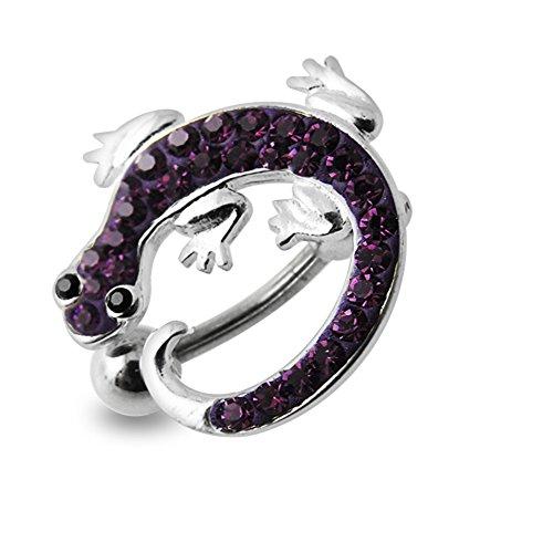 Lila Crystal Stein Bunte Lizard Design Sterling Silber Bauch Szenekneipen Piercing